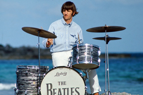 THE BEATLES 24X36 POSTER RINGO STARR ON DRUMS BY BEACH COOL ICONIC